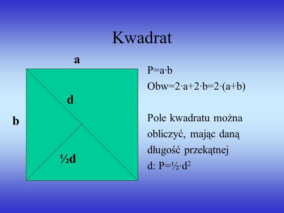 Kwadrat a d b ½d P=a·b Obw=2·a+2·b=2·(a+b) Pole kwadratu można