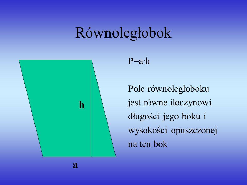 Równoległobok h a P=a·h Pole równoległoboku jest równe iloczynowi