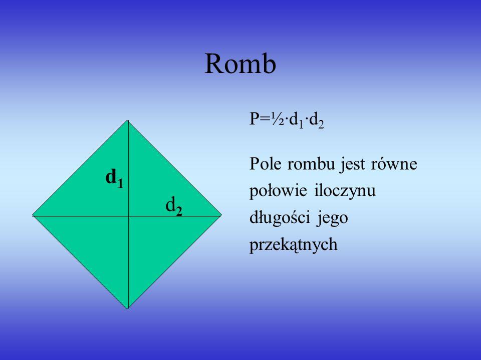 Romb d1 d2 P=½·d1·d2 Pole rombu jest równe połowie iloczynu