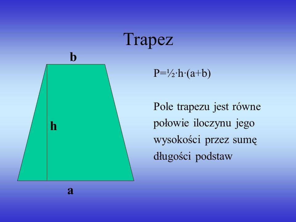 Trapez b h a P=½·h·(a+b) Pole trapezu jest równe połowie iloczynu jego