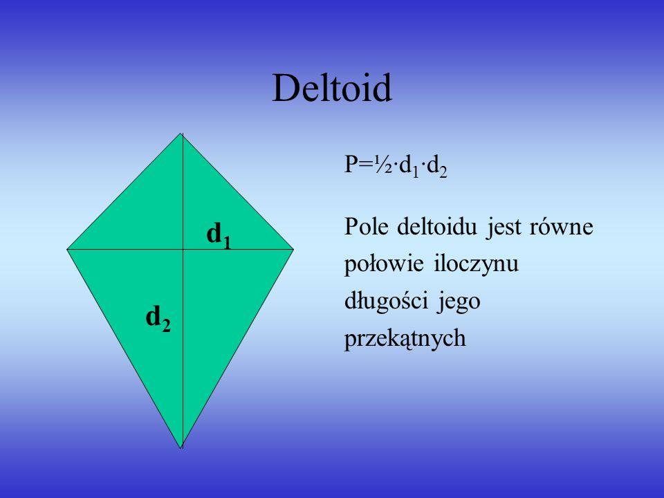 Deltoid d1 d2 P=½·d1·d2 Pole deltoidu jest równe połowie iloczynu