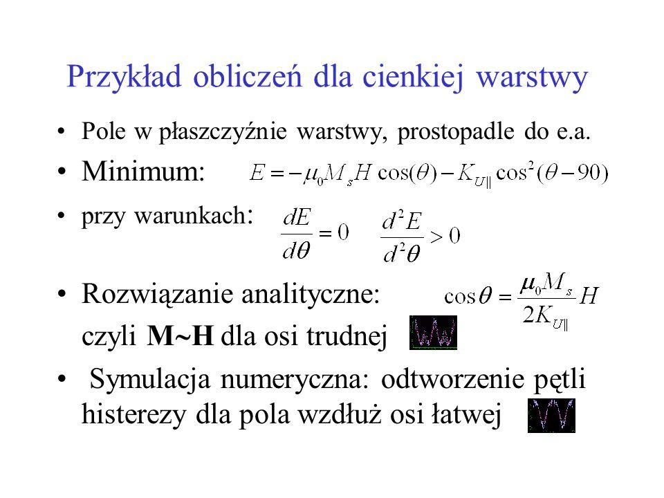 Przykład obliczeń dla cienkiej warstwy