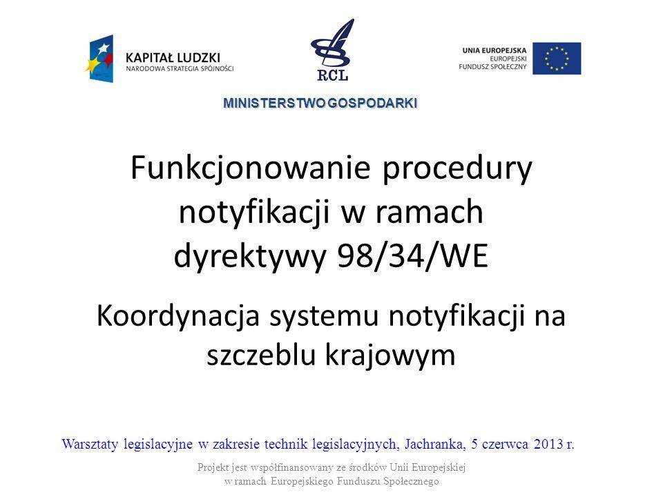 Funkcjonowanie procedury notyfikacji w ramach dyrektywy 98/34/WE Koordynacja systemu notyfikacji na szczeblu krajowym