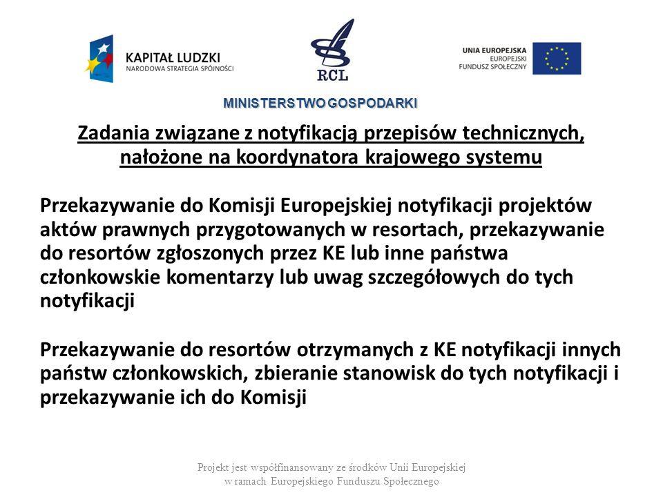 Zadania związane z notyfikacją przepisów technicznych, nałożone na koordynatora krajowego systemu