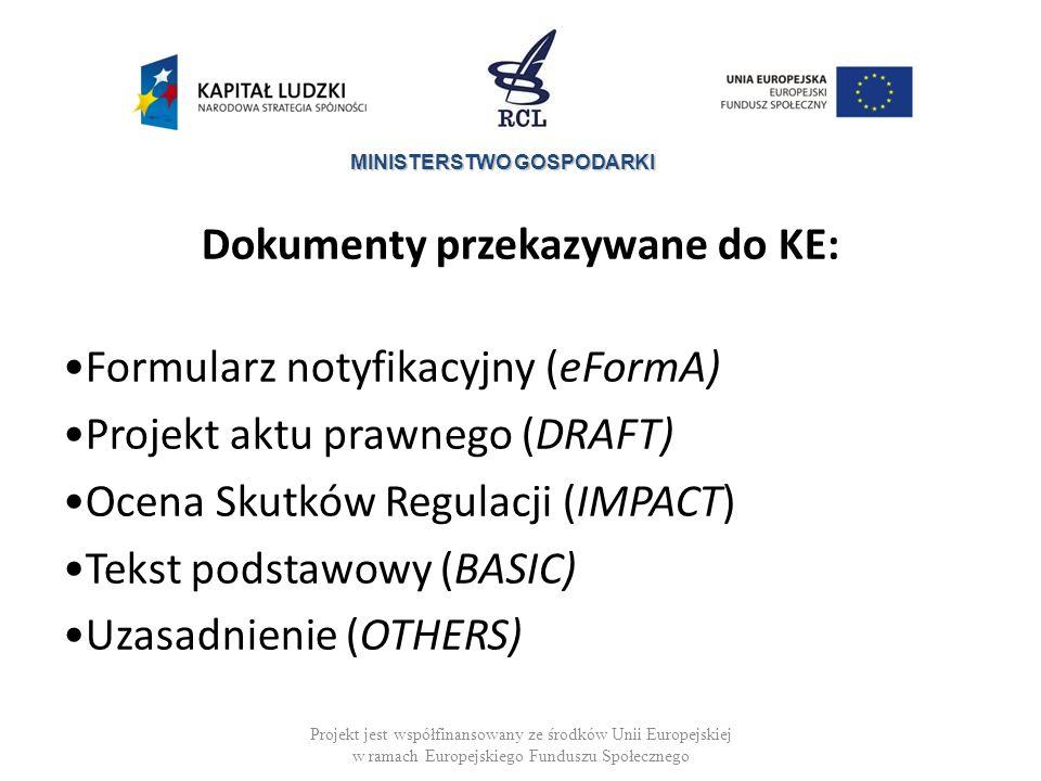 Dokumenty przekazywane do KE: