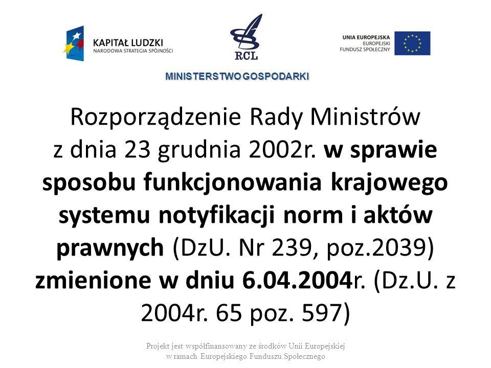 Rozporządzenie Rady Ministrów z dnia 23 grudnia 2002r