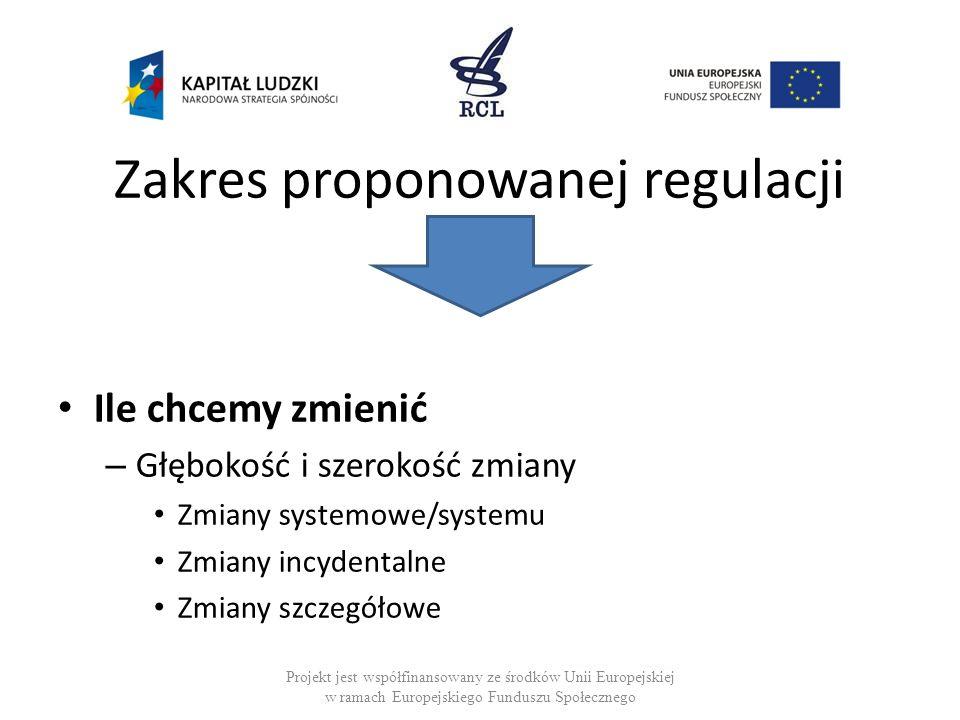 Zakres proponowanej regulacji