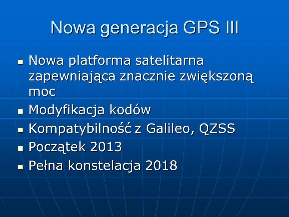 Nowa generacja GPS III Nowa platforma satelitarna zapewniająca znacznie zwiększoną moc. Modyfikacja kodów.
