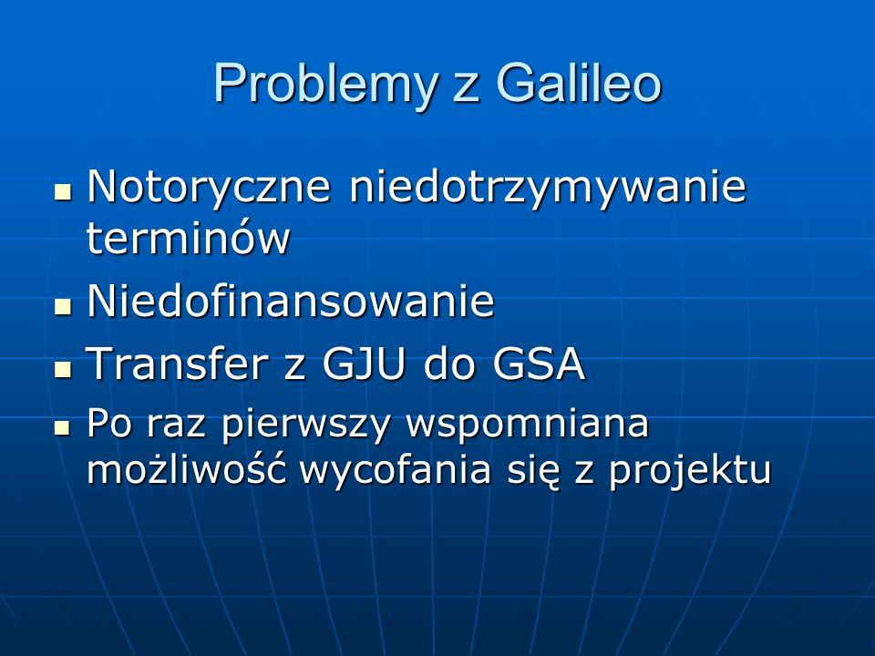 Problemy z Galileo Notoryczne niedotrzymywanie terminów