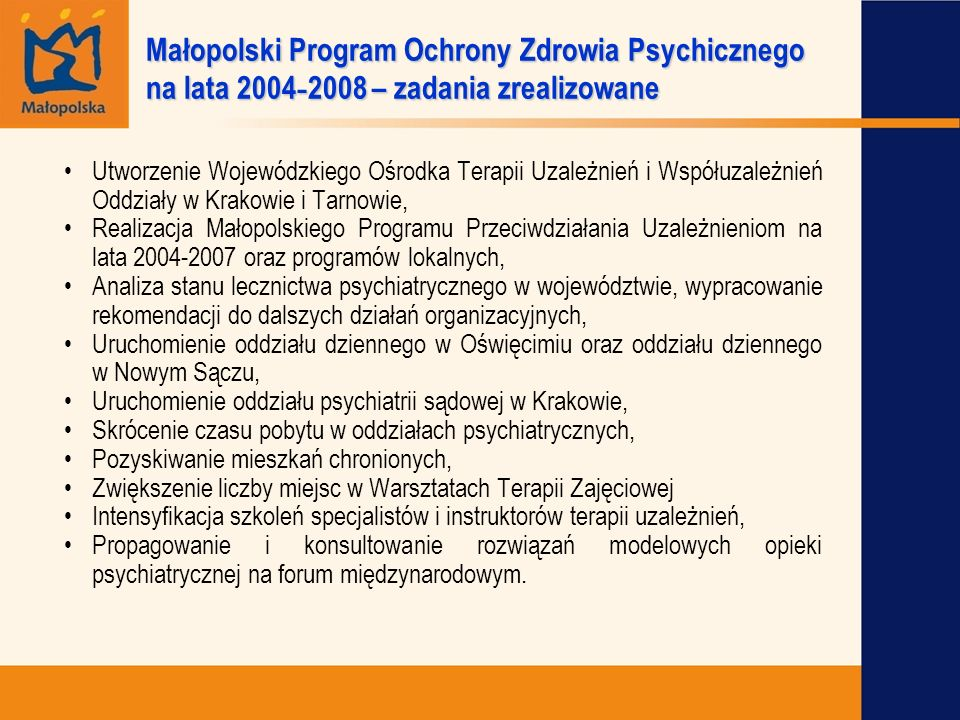 Małopolski Program Ochrony Zdrowia Psychicznego na lata 2004-2008 – zadania zrealizowane