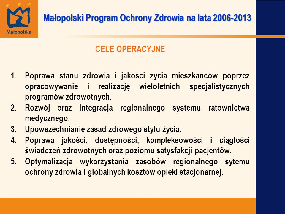 Małopolski Program Ochrony Zdrowia na lata 2006-2013