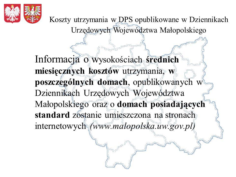 Koszty utrzymania w DPS opublikowane w Dziennikach Urzędowych Województwa Małopolskiego
