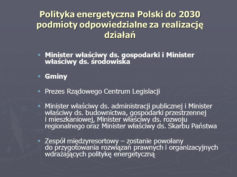 Polityka energetyczna Polski do 2030 podmioty odpowiedzialne za realizację działań