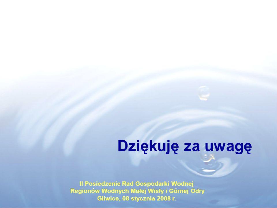Dziękuję za uwagę II Posiedzenie Rad Gospodarki Wodnej
