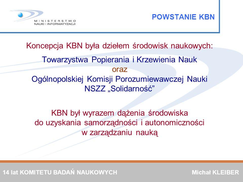 Koncepcja KBN była dziełem środowisk naukowych: