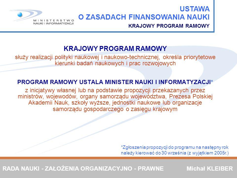 PROGRAM RAMOWY USTALA MINISTER NAUKI I INFORMATYZACJI*