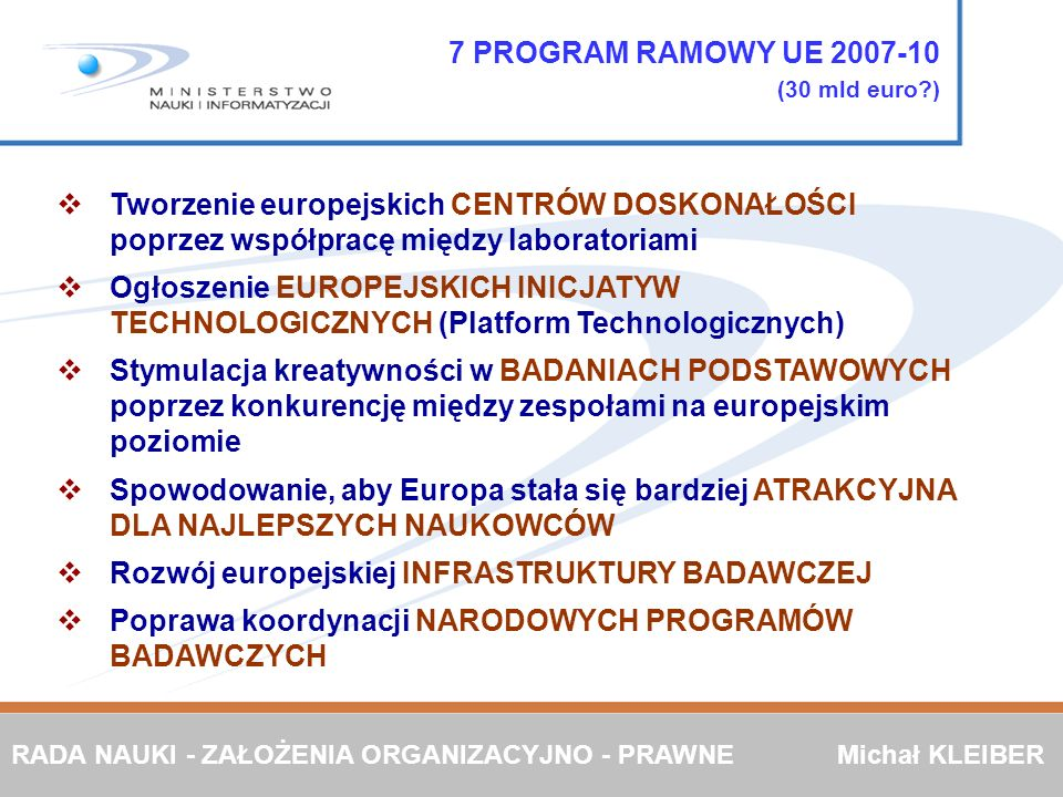 7 PROGRAM RAMOWY UE 2007-10 (30 mld euro )
