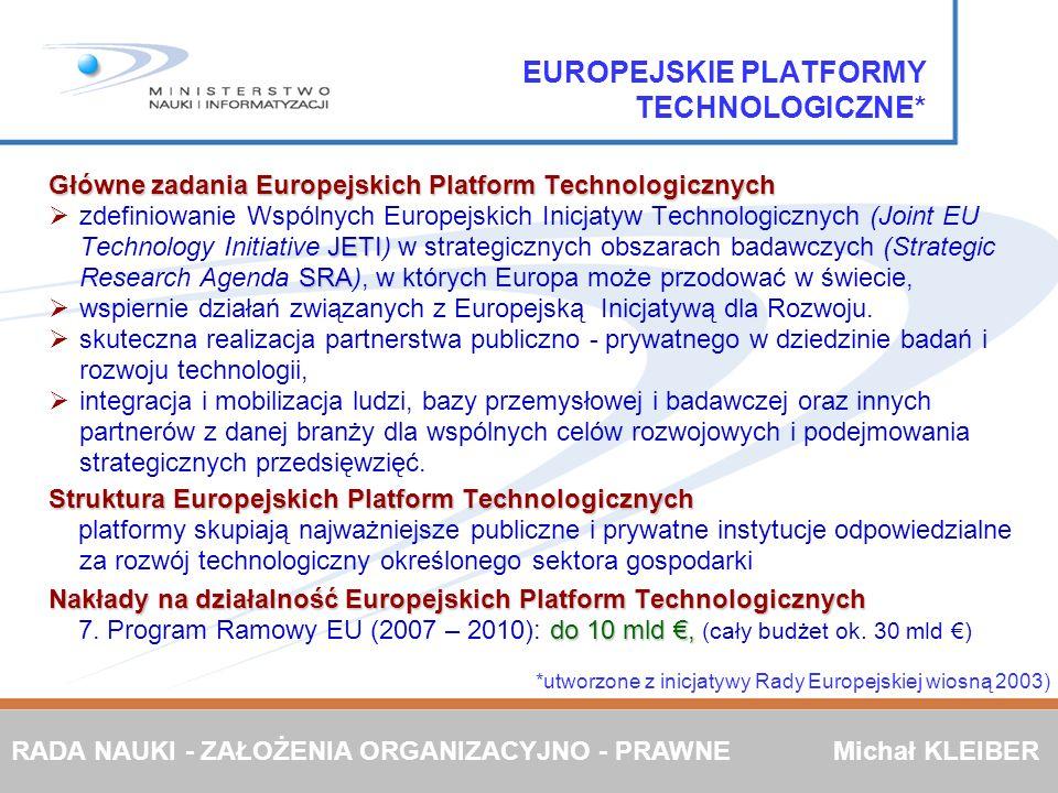 EUROPEJSKIE PLATFORMY TECHNOLOGICZNE*