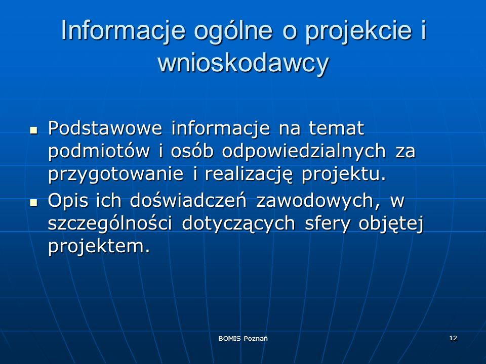 Informacje ogólne o projekcie i wnioskodawcy