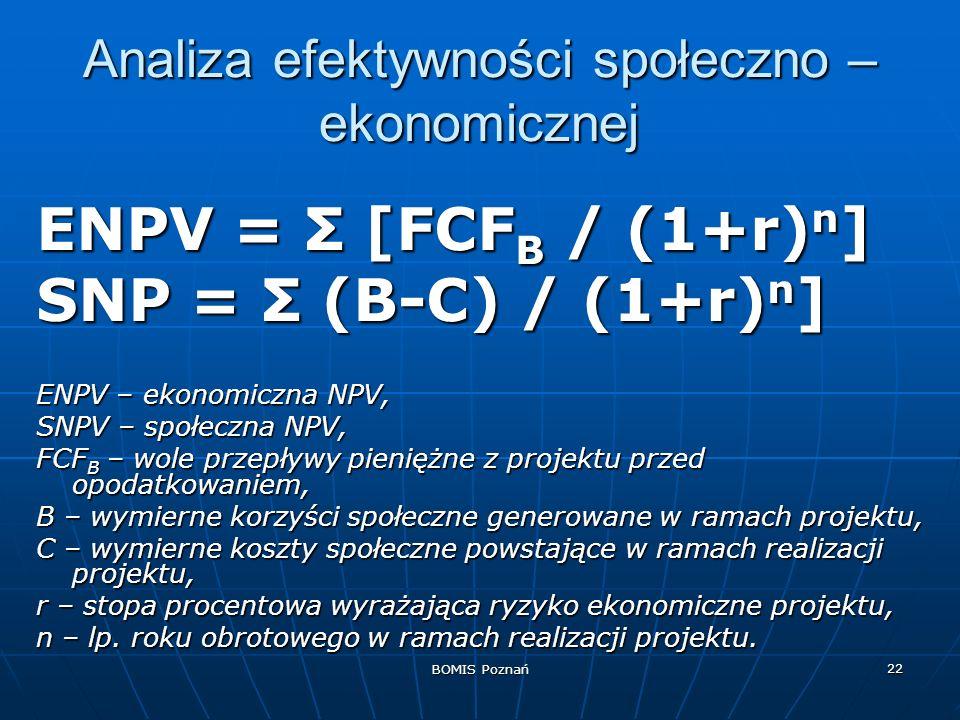 Analiza efektywności społeczno –ekonomicznej