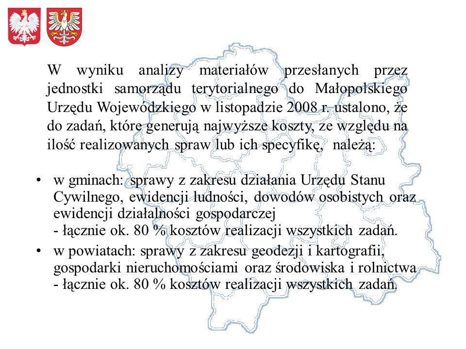 W wyniku analizy materiałów przesłanych przez jednostki samorządu terytorialnego do Małopolskiego Urzędu Wojewódzkiego w listopadzie 2008 r. ustalono, że do zadań, które generują najwyższe koszty, ze względu na ilość realizowanych spraw lub ich specyfikę, należą: