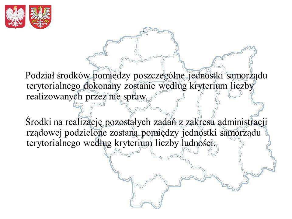 Podział środków pomiędzy poszczególne jednostki samorządu terytorialnego dokonany zostanie według kryterium liczby realizowanych przez nie spraw.