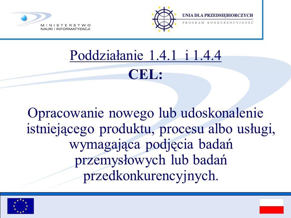 Poddziałanie 1.4.1 i 1.4.4 CEL: