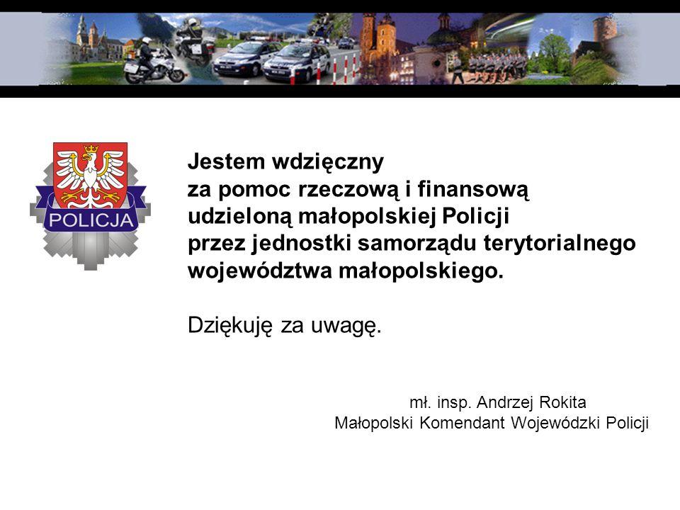 za pomoc rzeczową i finansową udzieloną małopolskiej Policji