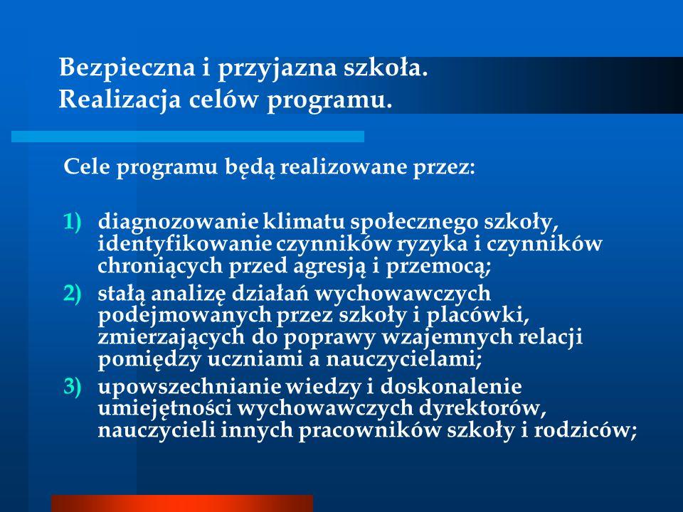 Bezpieczna i przyjazna szkoła. Realizacja celów programu.