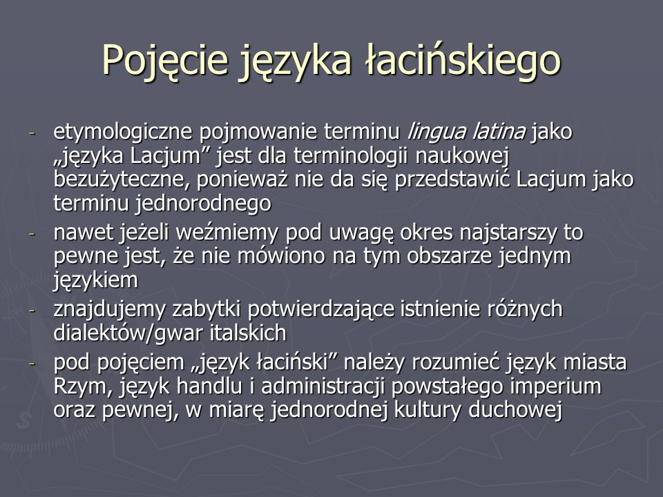 Pojęcie języka łacińskiego