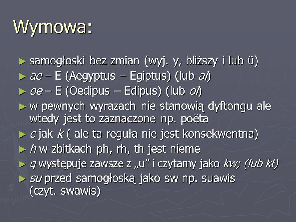 Wymowa: samogłoski bez zmian (wyj. y, bliższy i lub ü)