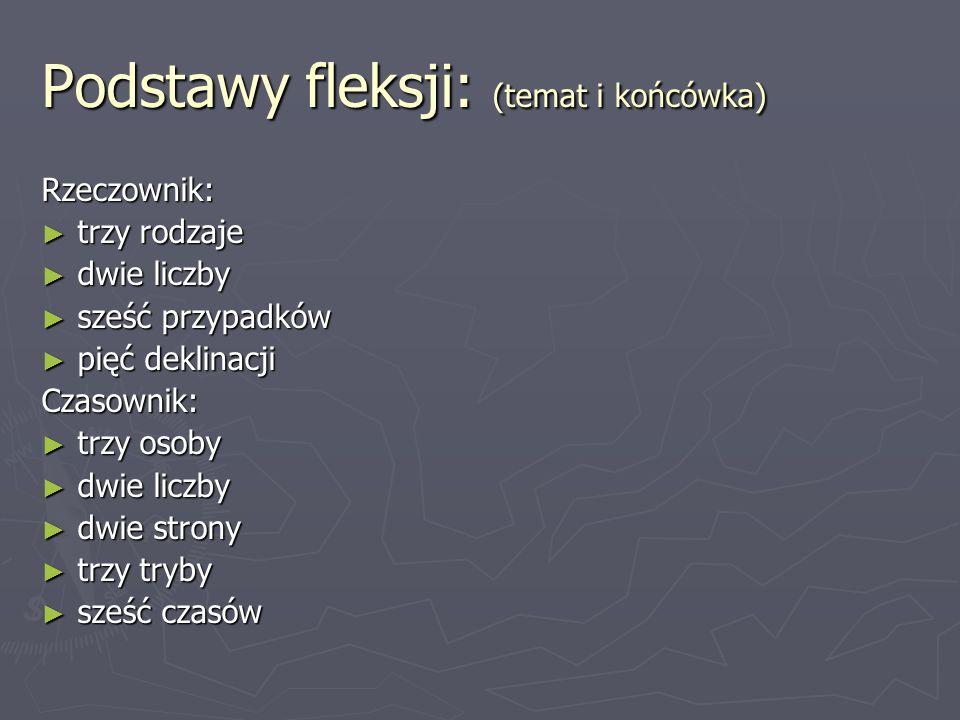 Podstawy fleksji: (temat i końcówka)