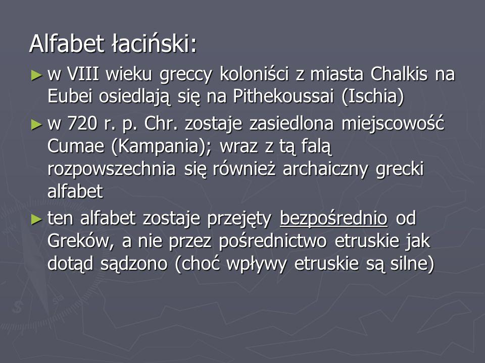 Alfabet łaciński: w VIII wieku greccy koloniści z miasta Chalkis na Eubei osiedlają się na Pithekoussai (Ischia)