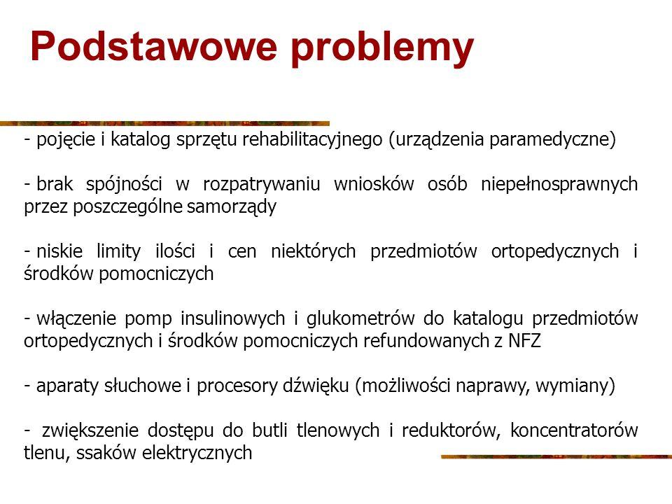 Podstawowe problemy pojęcie i katalog sprzętu rehabilitacyjnego (urządzenia paramedyczne)