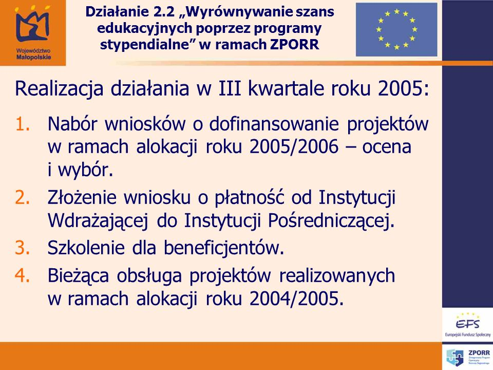 Realizacja działania w III kwartale roku 2005: