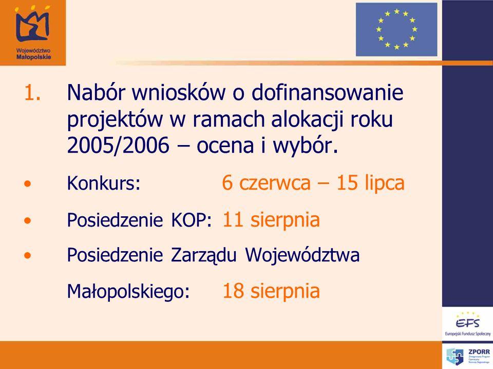 Nabór wniosków o dofinansowanie projektów w ramach alokacji roku 2005/2006 – ocena i wybór.