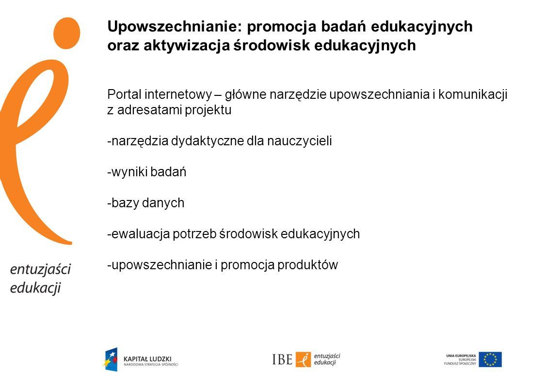 Upowszechnianie: promocja badań edukacyjnych oraz aktywizacja środowisk edukacyjnych
