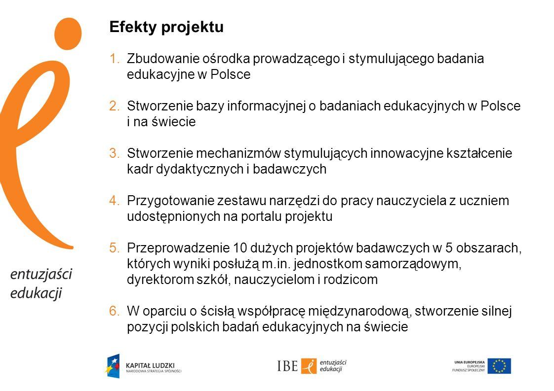 Efekty projektu Zbudowanie ośrodka prowadzącego i stymulującego badania edukacyjne w Polsce.