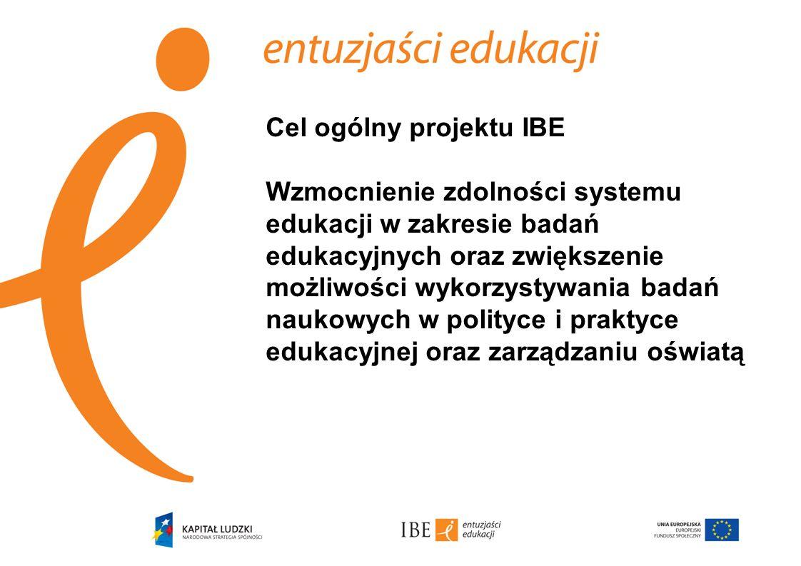 Cel ogólny projektu IBE Wzmocnienie zdolności systemu edukacji w zakresie badań edukacyjnych oraz zwiększenie możliwości wykorzystywania badań naukowych w polityce i praktyce edukacyjnej oraz zarządzaniu oświatą