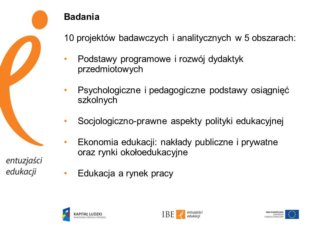 Badania 10 projektów badawczych i analitycznych w 5 obszarach: Podstawy programowe i rozwój dydaktyk przedmiotowych.
