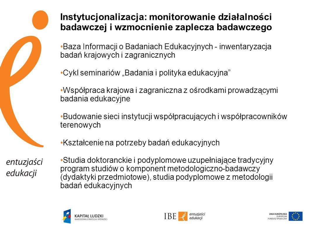 Instytucjonalizacja: monitorowanie działalności badawczej i wzmocnienie zaplecza badawczego