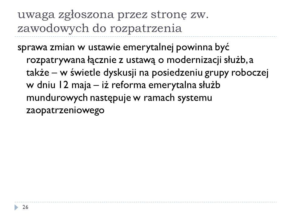 uwaga zgłoszona przez stronę zw. zawodowych do rozpatrzenia
