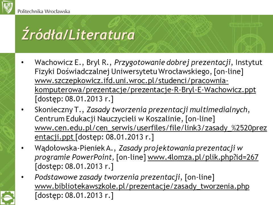 Źródła/Literatura