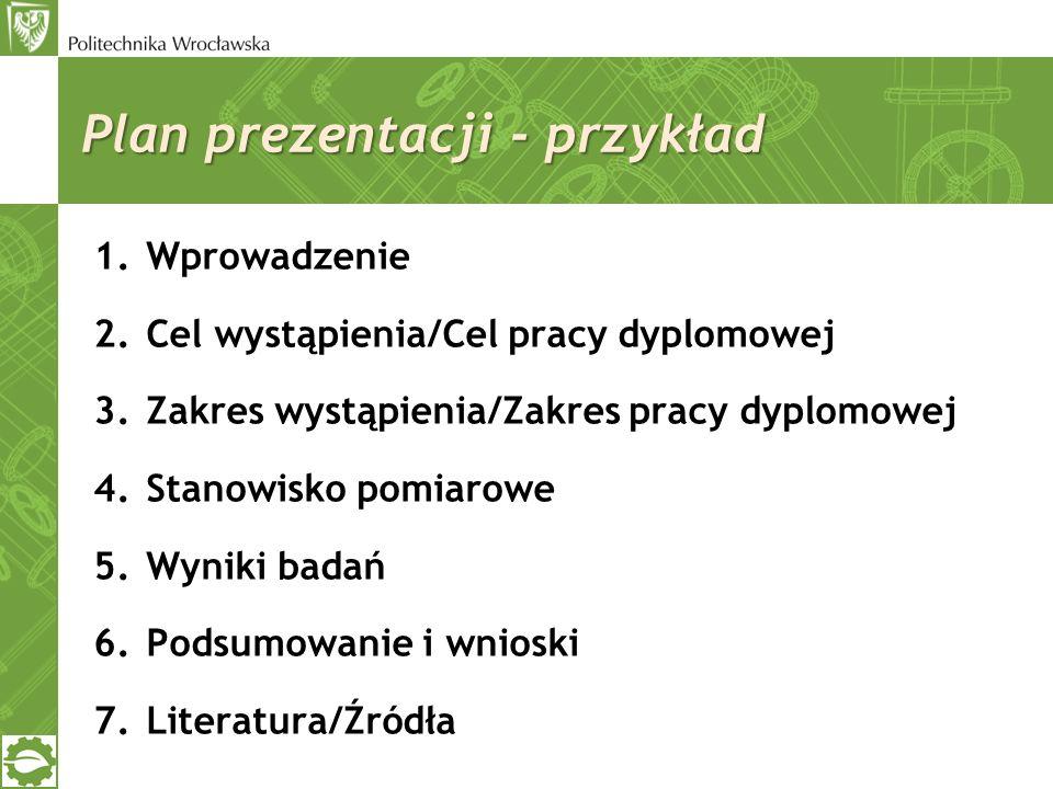 Plan prezentacji - przykład