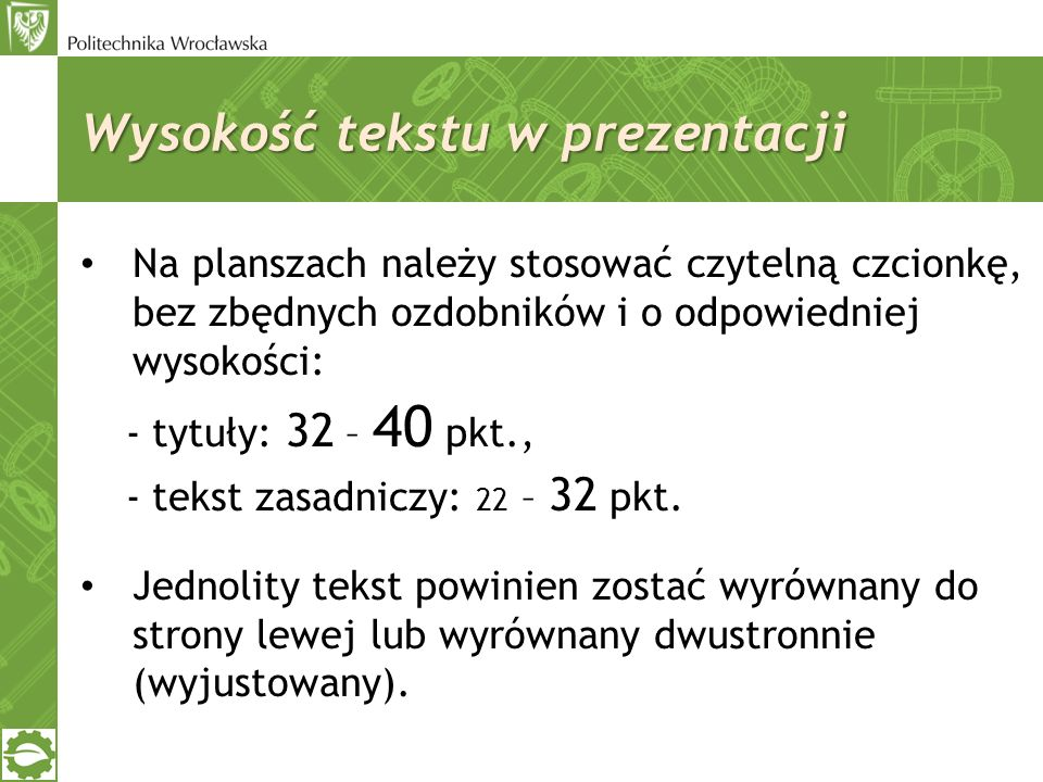 Wysokość tekstu w prezentacji