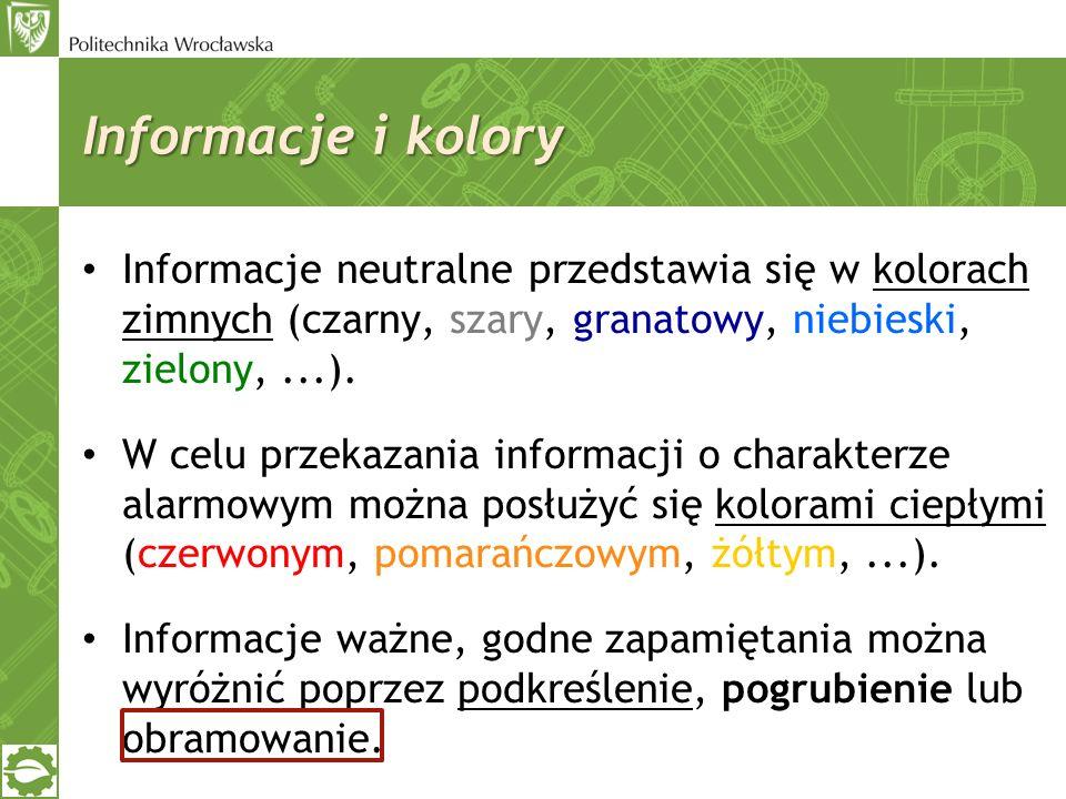Informacje i kolory Informacje neutralne przedstawia się w kolorach zimnych (czarny, szary, granatowy, niebieski, zielony, ...).