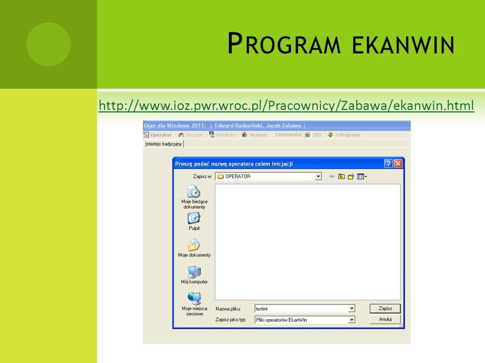 Program ekanwin http://www.ioz.pwr.wroc.pl/Pracownicy/Zabawa/ekanwin.html