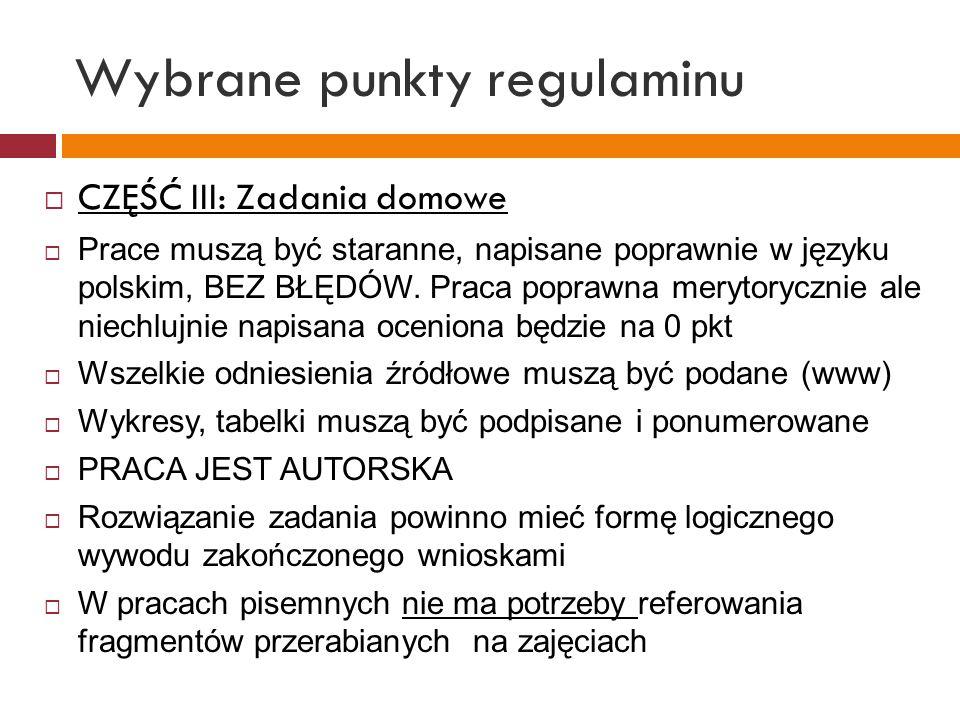 Wybrane punkty regulaminu