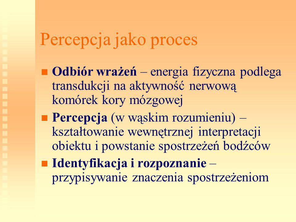 Percepcja jako proces Odbiór wrażeń – energia fizyczna podlega transdukcji na aktywność nerwową komórek kory mózgowej.