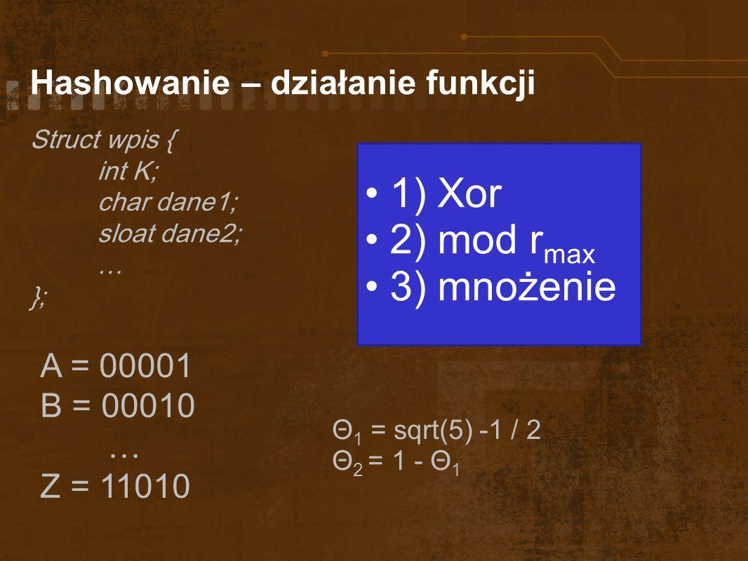 1) Xor 2) mod rmax 3) mnożenie Hashowanie – działanie funkcji